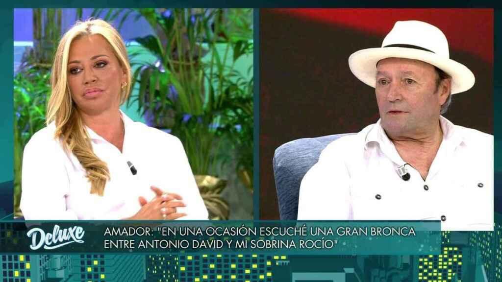 Belén Esteban y Amador Mohedano compartiendo plató en Telecinco.