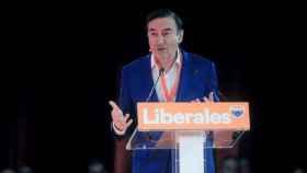 El presidente y director de El Español, Pedro J. Ramírez, durante su intervención en la convención de Cs.