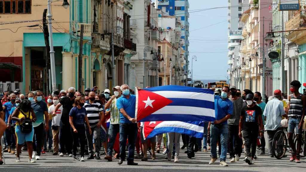 Manifestantes en La Habana.