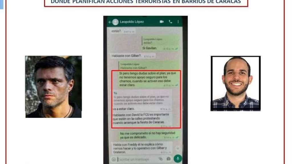 Captura de pantalla con una supuesta conversación entre Leopoldo López y Hasler Iglesias que utiliza el régimen venezolano como evidencia.