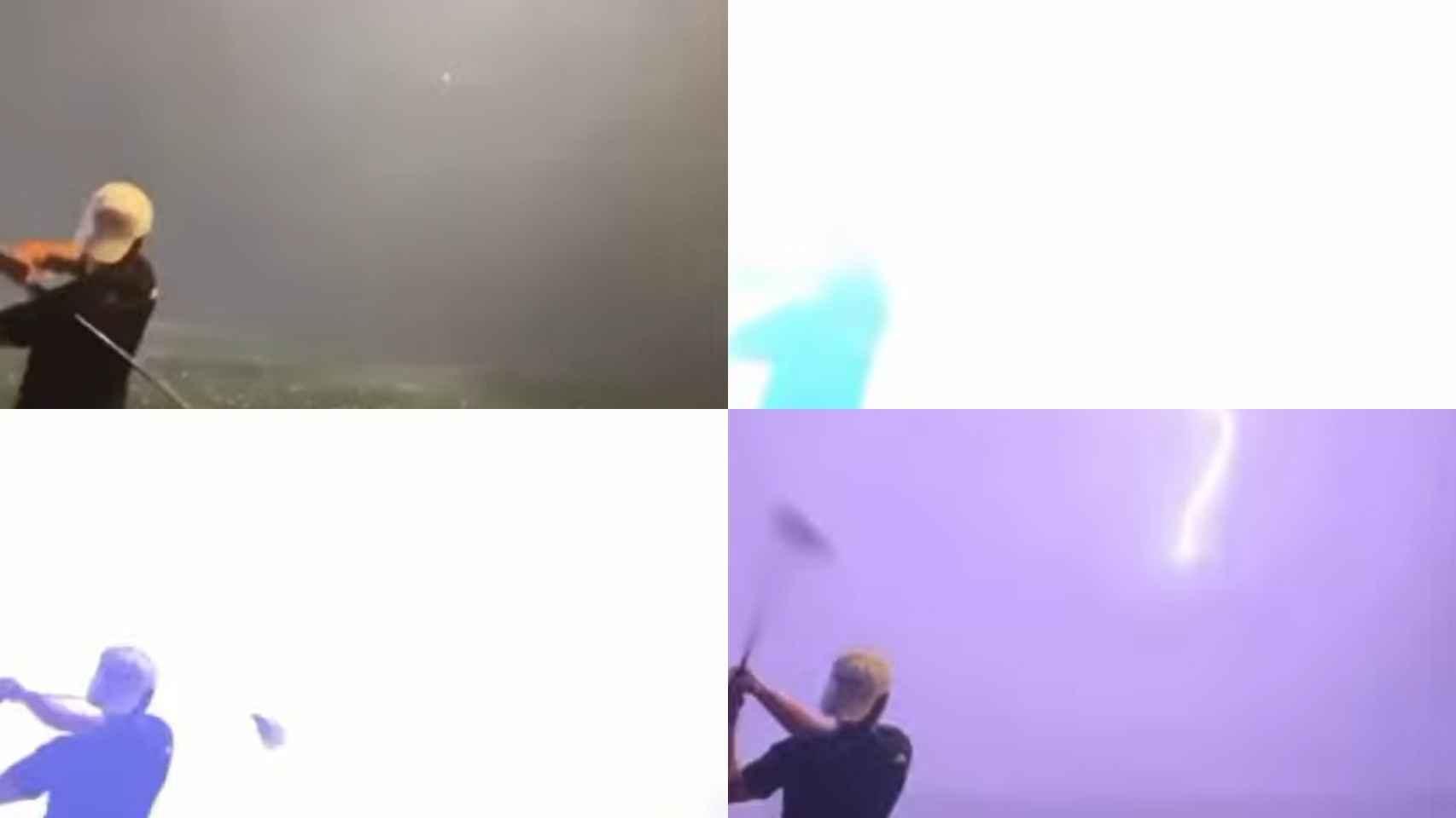El momento en el que un rayo destroza una pelota de golf