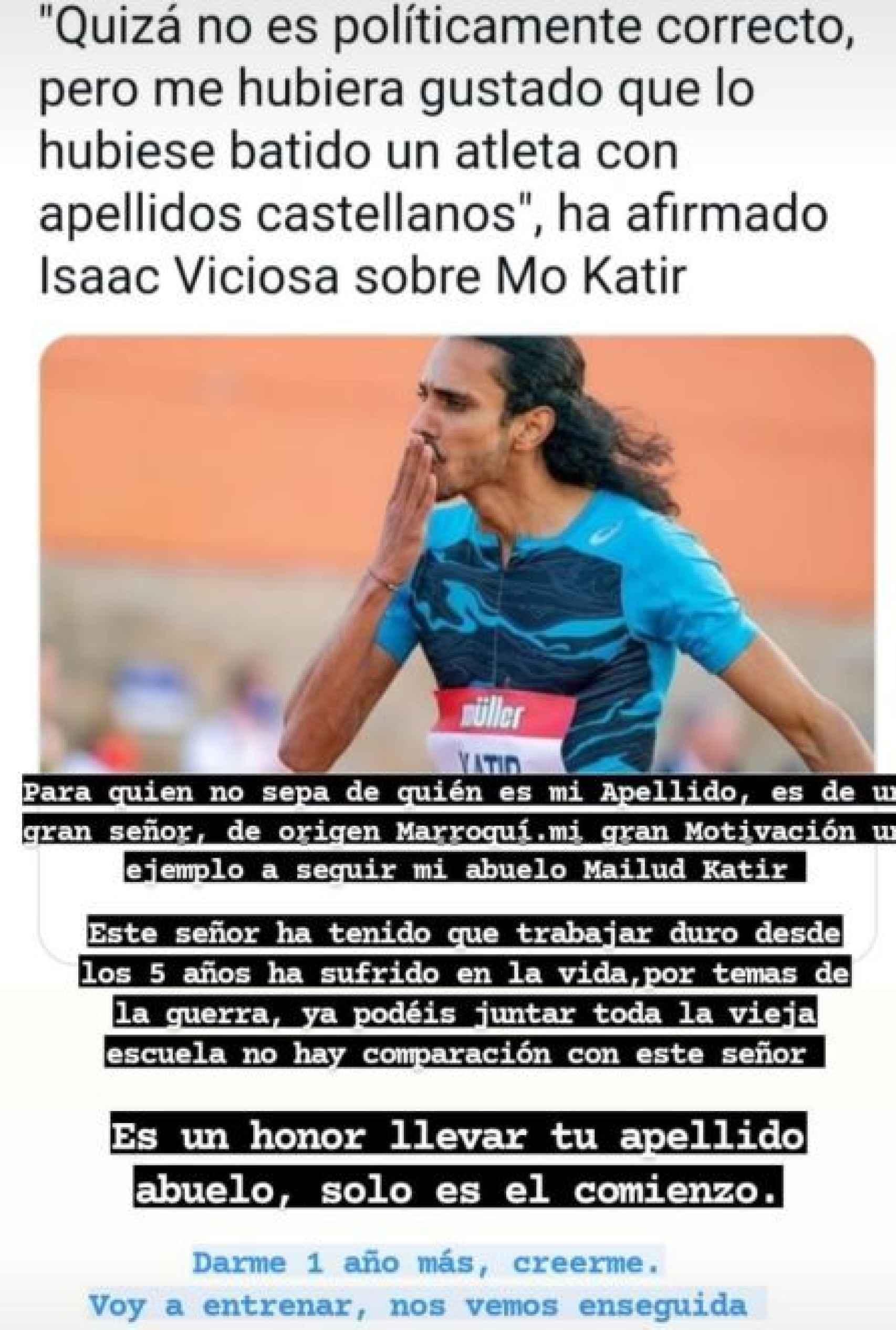 La publicación de Mo Katir en las redes sociales contestando a Isaac Viciosa