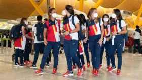 Los integrantes del equipo olímpico español este sábado en el aeropuerto de Barajas