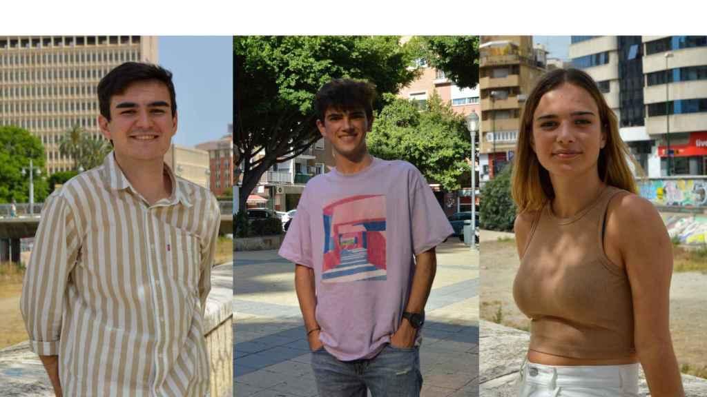 Tres de los quince estudiantes del doble grado de Matemáticas e Ingeniería Informática.