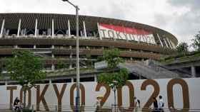El Estadio Nacional de los Juegos Olímpicos de Tokio 2020, desde fuera