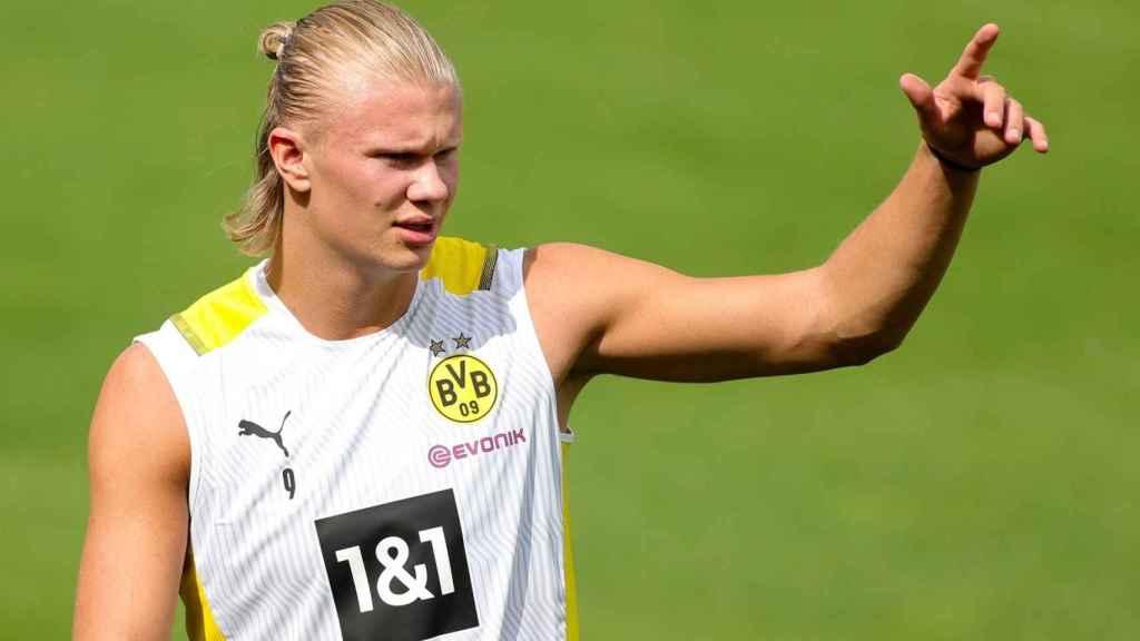 Erling Haaland, en un entrenamiento del Borussia Dortmund