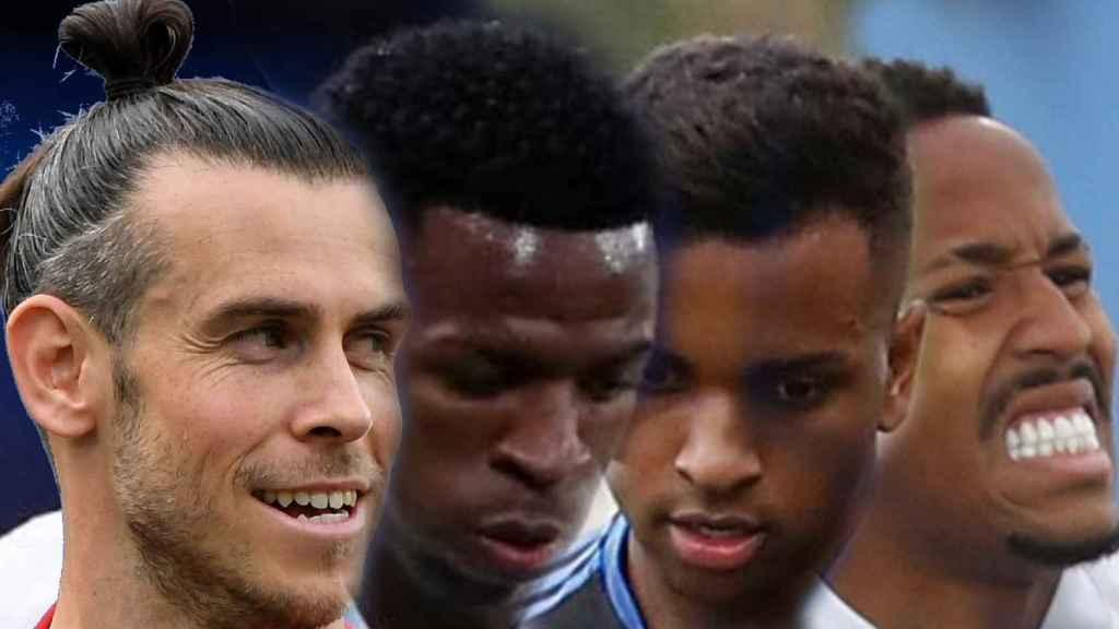 Gareth Bale, Vinicius, Rodrygo Goes y Eder Militao, en un fotomontaje