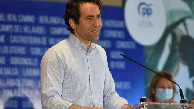 El secretario general del PP, Teodoro García Egea, en la clausura del 15 Congreso del PP de la provincia de León.