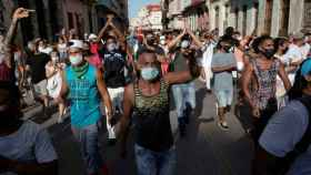 Una movilización de manifestantes en La Habana.