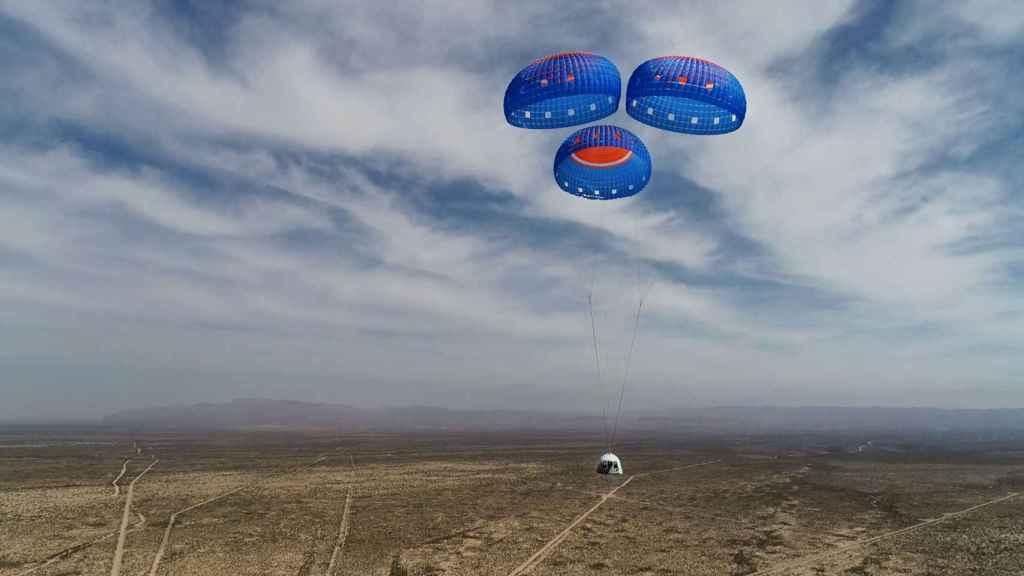 Descenso con paracaídas de la New Shepard