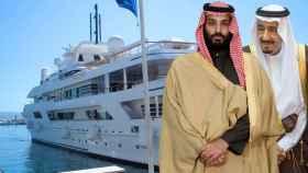 La Familia Real saudí junto al yate Lady Haya en un montaje de JALEOS.