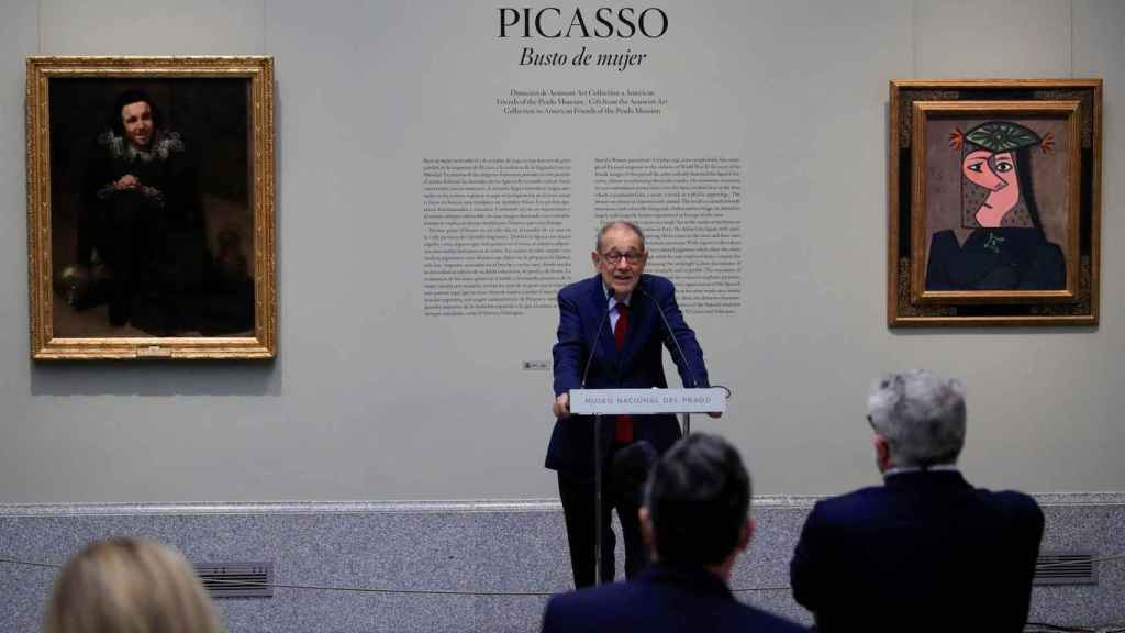 Javier Solana, presidente del Real Patronato Museo Nacional del Prado, durante su intervención en la presentación de 'Busto de mujer 43', con el que Picasso vuelve al Museo del Prado