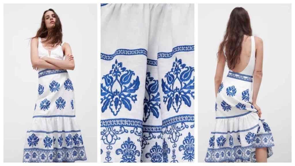 Falda midi de Zara, con bordados en azul.