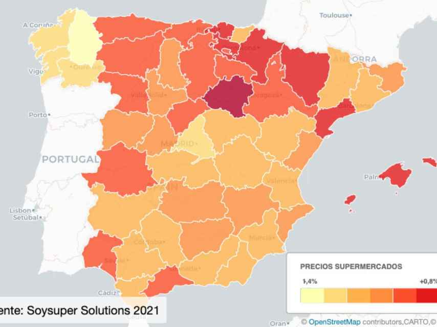 Mapa Barómetro precios supermercados