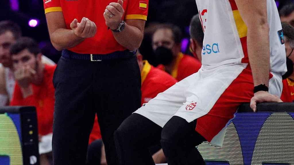 Sergio Scariolo y Marc Gasol en el amistoso contra Estados Unidos