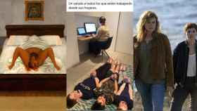 Representaciones de la maternidad analizadas en 'Maternidades': 'Mi nacimiento', de Frida Kahlo; un meme sobre el teletrabajo;  una escena del thriller 'Néboa'.