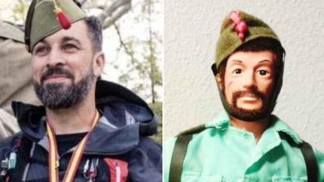 Abascal y un muñeco Geyperman en el hilo que se ha hecho viral.