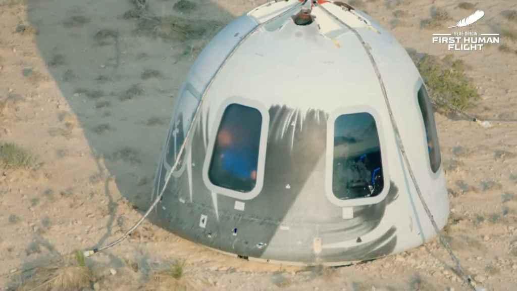 Cápsula New Shepard aterrizada
