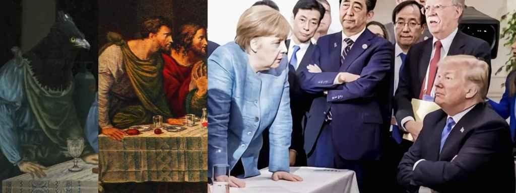 Detalle de La última cena del G7 basado en las posturas del apóstol Bartolomé y Angela Merkel.