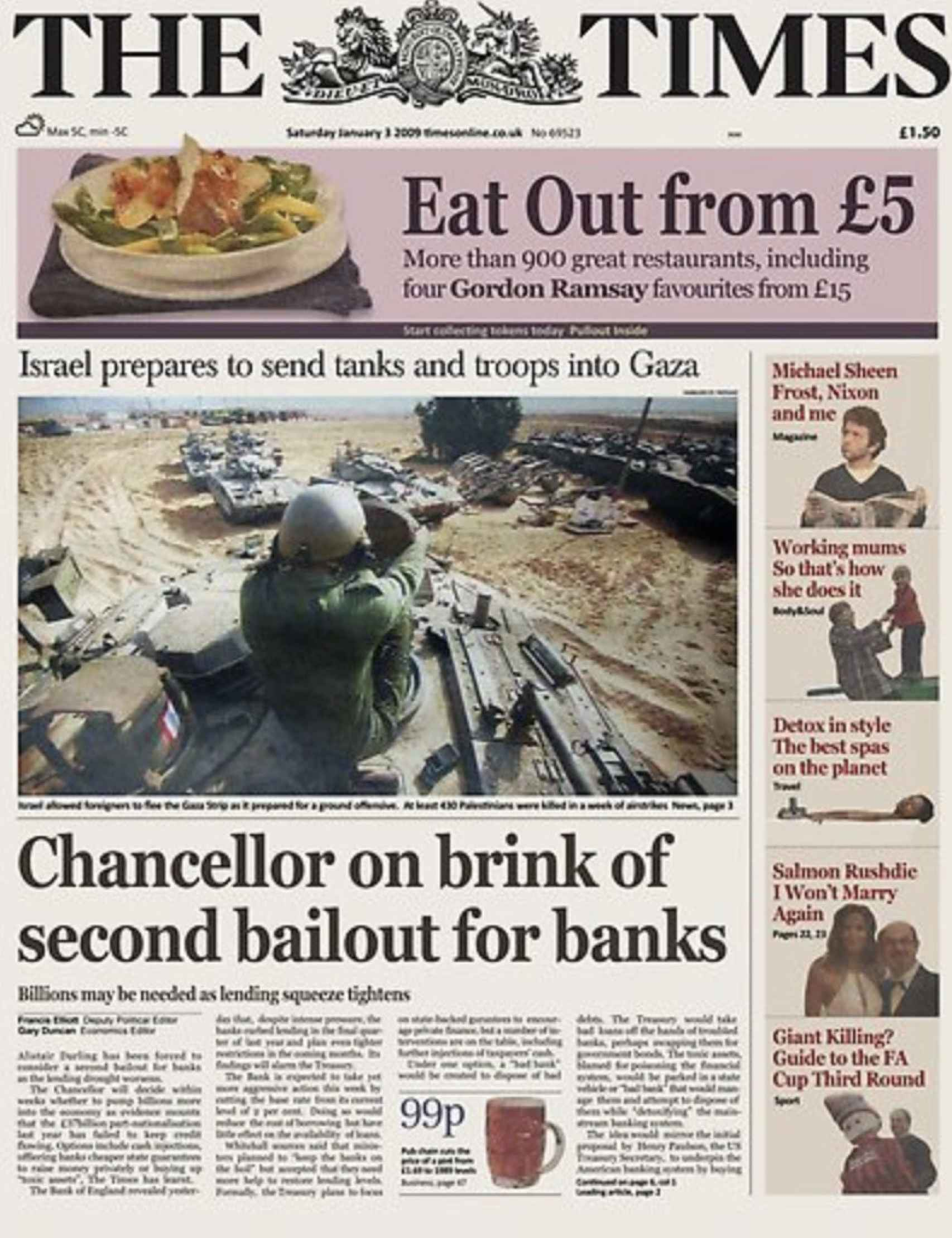 Portada de 'The Times' del 3 de enero de 2009.