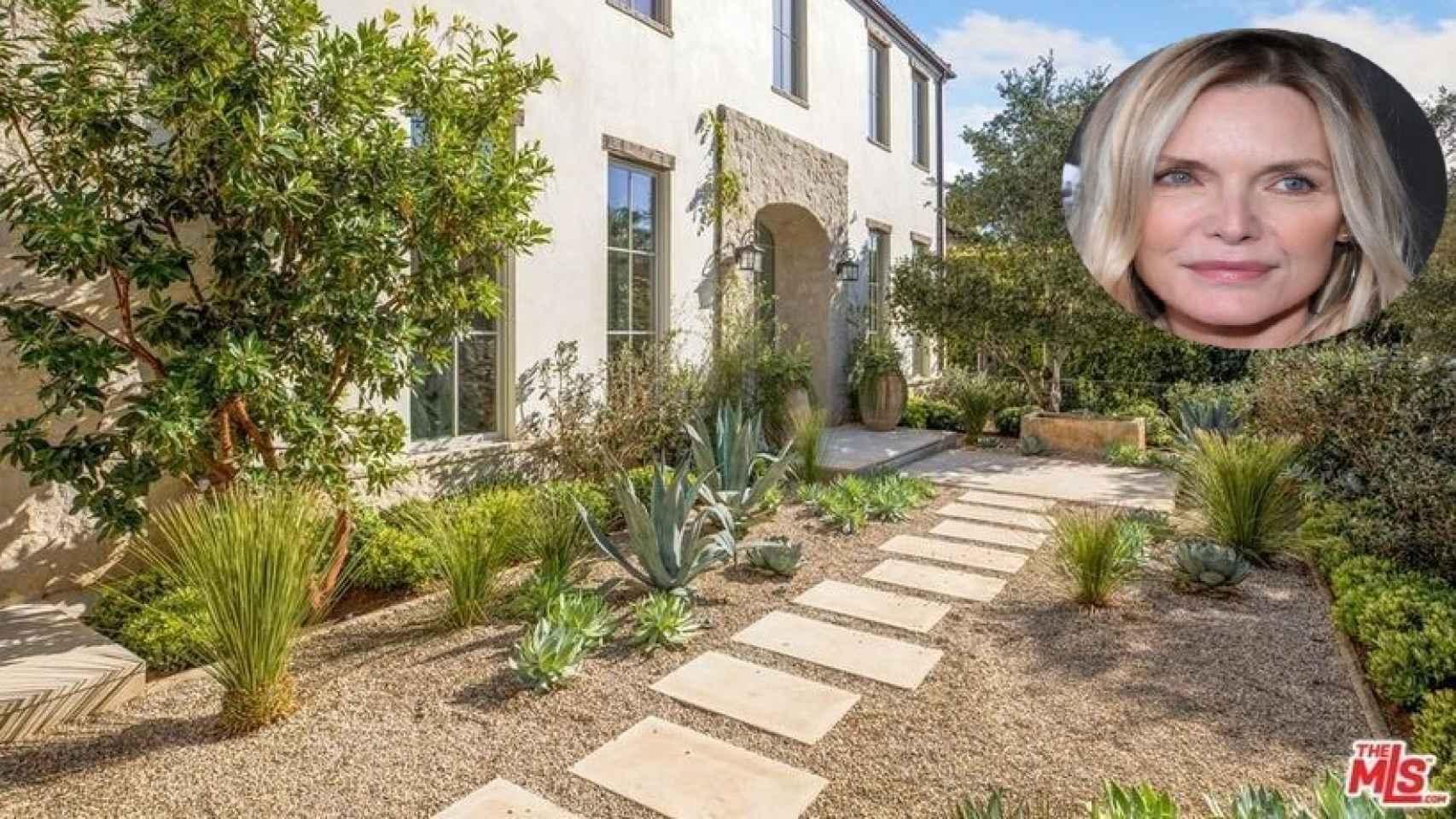 Michelle Pfeiffer y la fachada de la casa que vende, en un montaje de JALEOS.