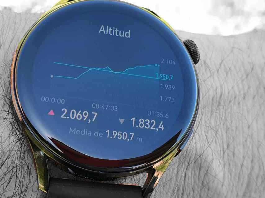Gráfica que muestra la altitud