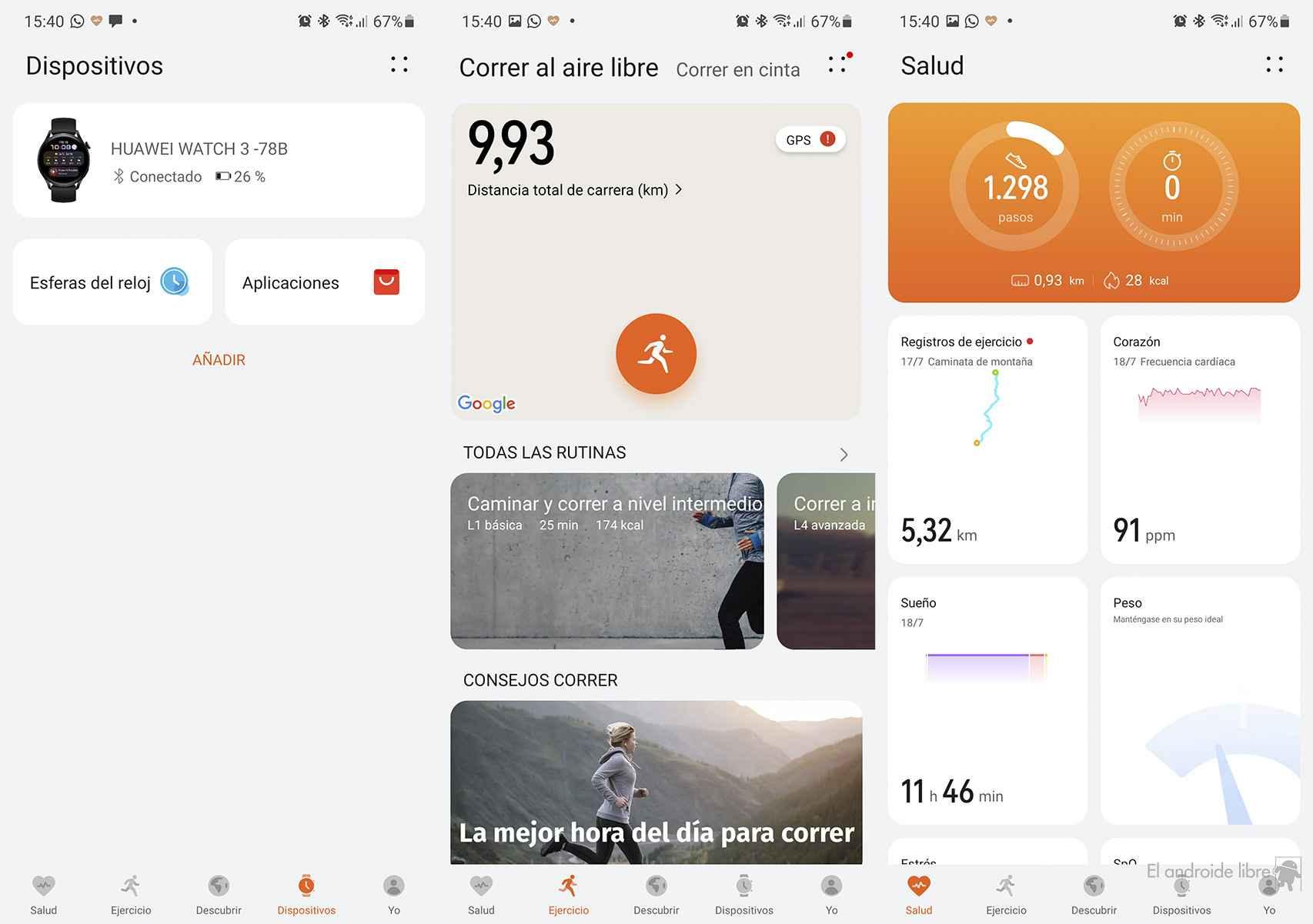 App de Salud de Huawei instalada en el Galaxy Note10+