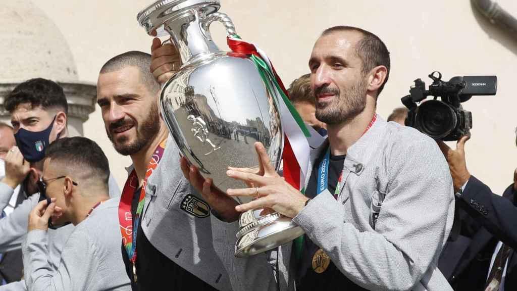 Bonucci y Chiellini, durante la celebración en Roma de la Eurocopa 2020