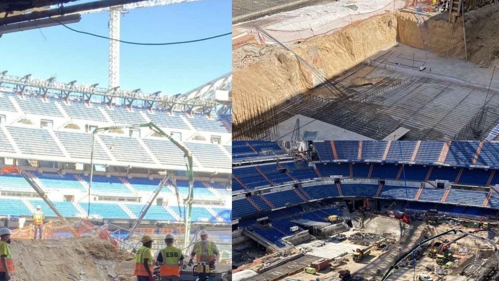 Varias tomas sobre el terreno de juego del Santiago Bernabéu a finales del mes de julio