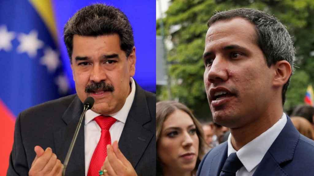 A la izquierda, el presidente venezolano, Nicolás Maduro. A la derecha, el presidente interino, Juan Guaidó.