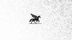 Icono de un Pegaso junto a código binario.