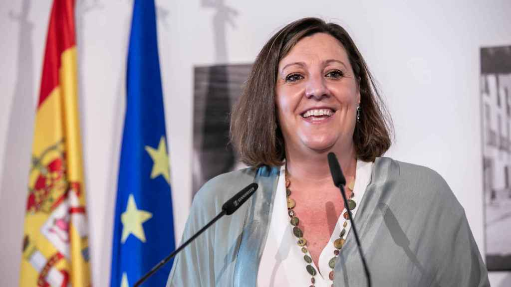 Patricia Franco, consejera de Economía, Empresas y Empleo, en la inauguración de la Plaza de Tembleque (Toledo)