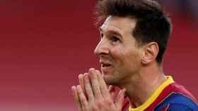 Leo Messi, lamentándose en un partido con la camiseta del Barça