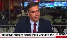 El presidente del Gobierno, Pedro Sánchez, durante la entrevista en el canal norteamericano MSNBC.