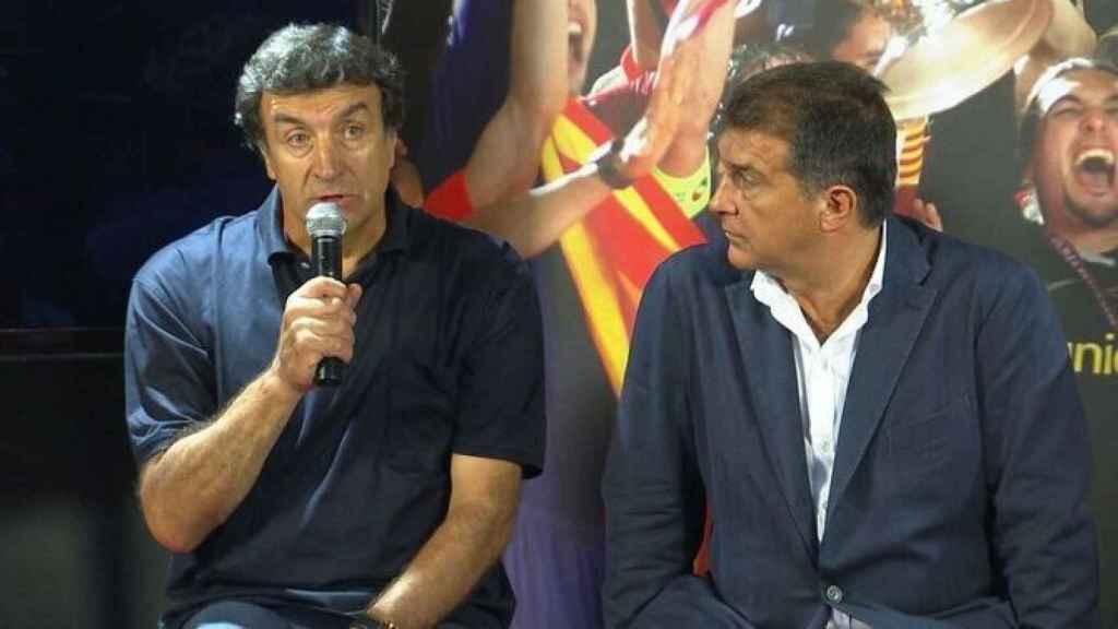 José Ramón Alexanko y Joan Laporta, durante un acto