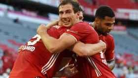 Goretzka celebra un gol con el Bayern