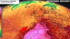 Imagen de la masa ascendiente de calor sahariano. METEORED.