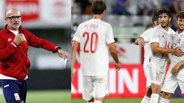 Collage con Luis de la Fuente y los jugadores de la selección celebrando un gol