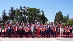 El equipo olímpico español en la despedida con los Reyes Felipe y Leticia