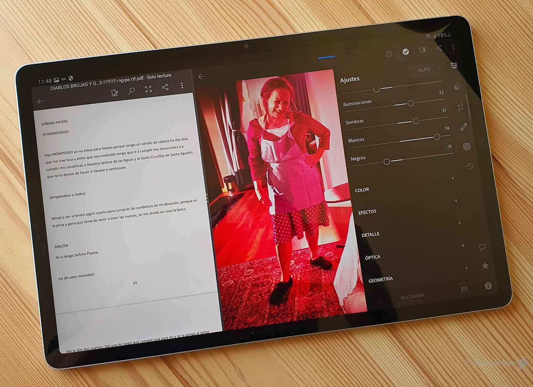 Dos apps abiertas en multitarea en el Samsung Galaxy Tab S7 FE