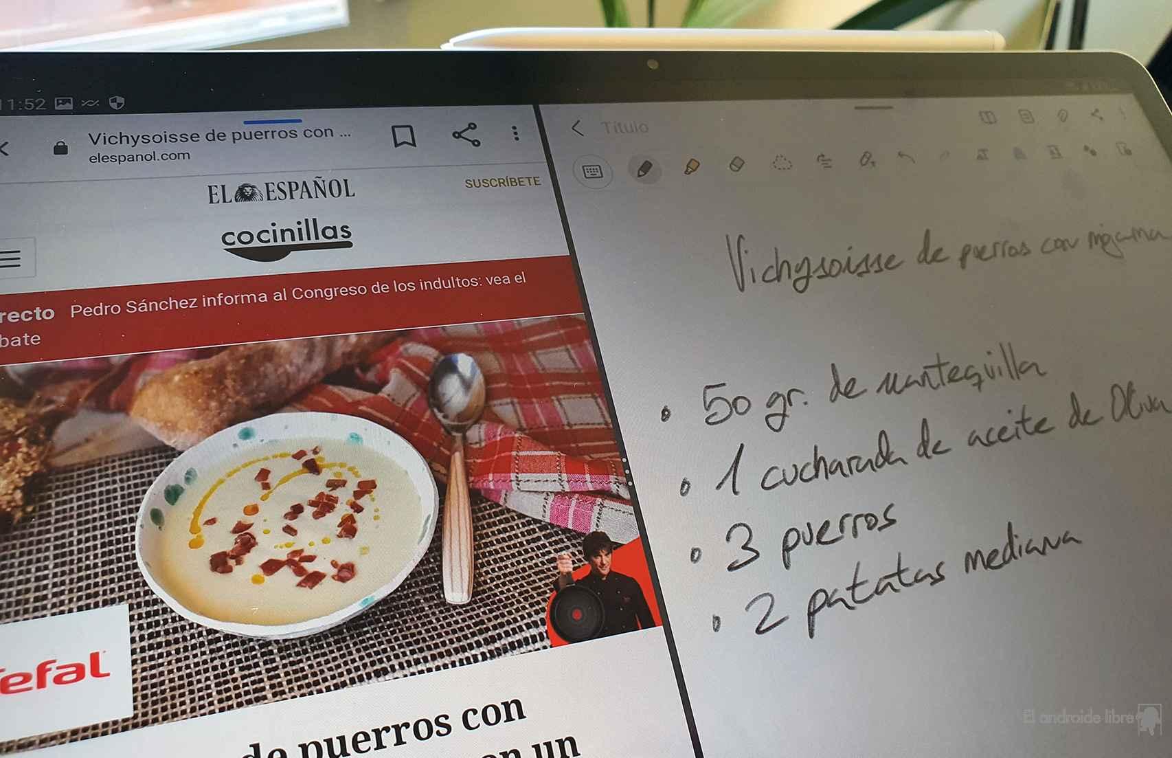 Pantalla dividida para apuntar receta en una nota
