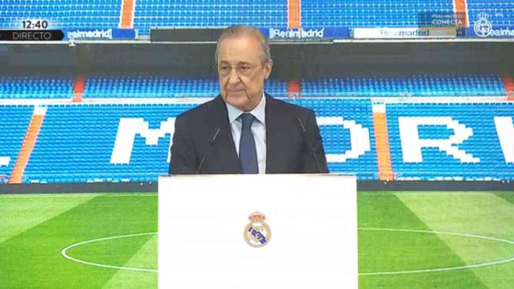 Florentino Pérez, en el acto de presentación de Alaba