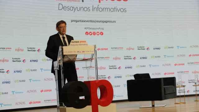 Ximo Puig, durante su discurso de este miércoles en Madrid. EE