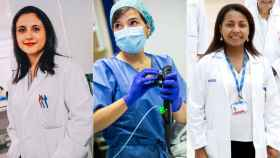 Tres doctoras que lideran proyectos financiados por la Mutua: Raquel Yahyaoui; Laura Palomino y Alba Ruiz.