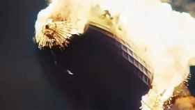 Hindenburg ardiendo a color.