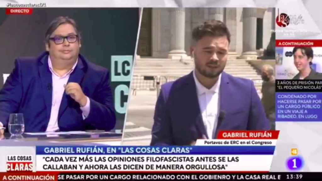 Rufián durante su intervención en el programa de TVE.