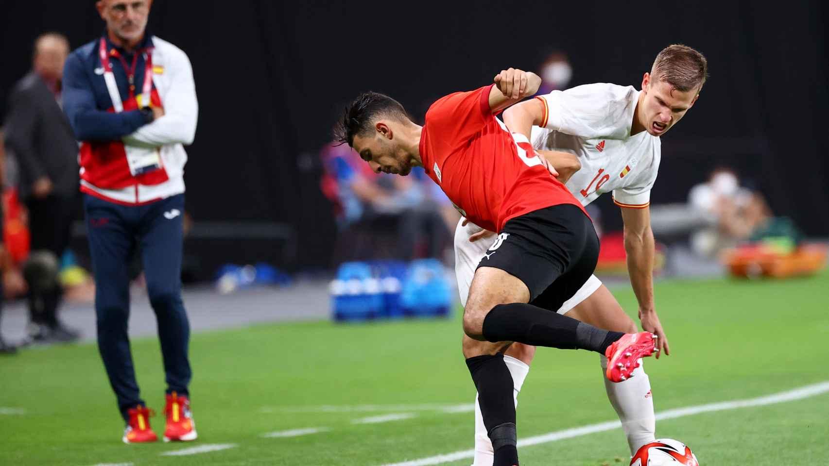 Dani Olmo, durante el partido entre España y Egipto en los Juegos Olímpicos
