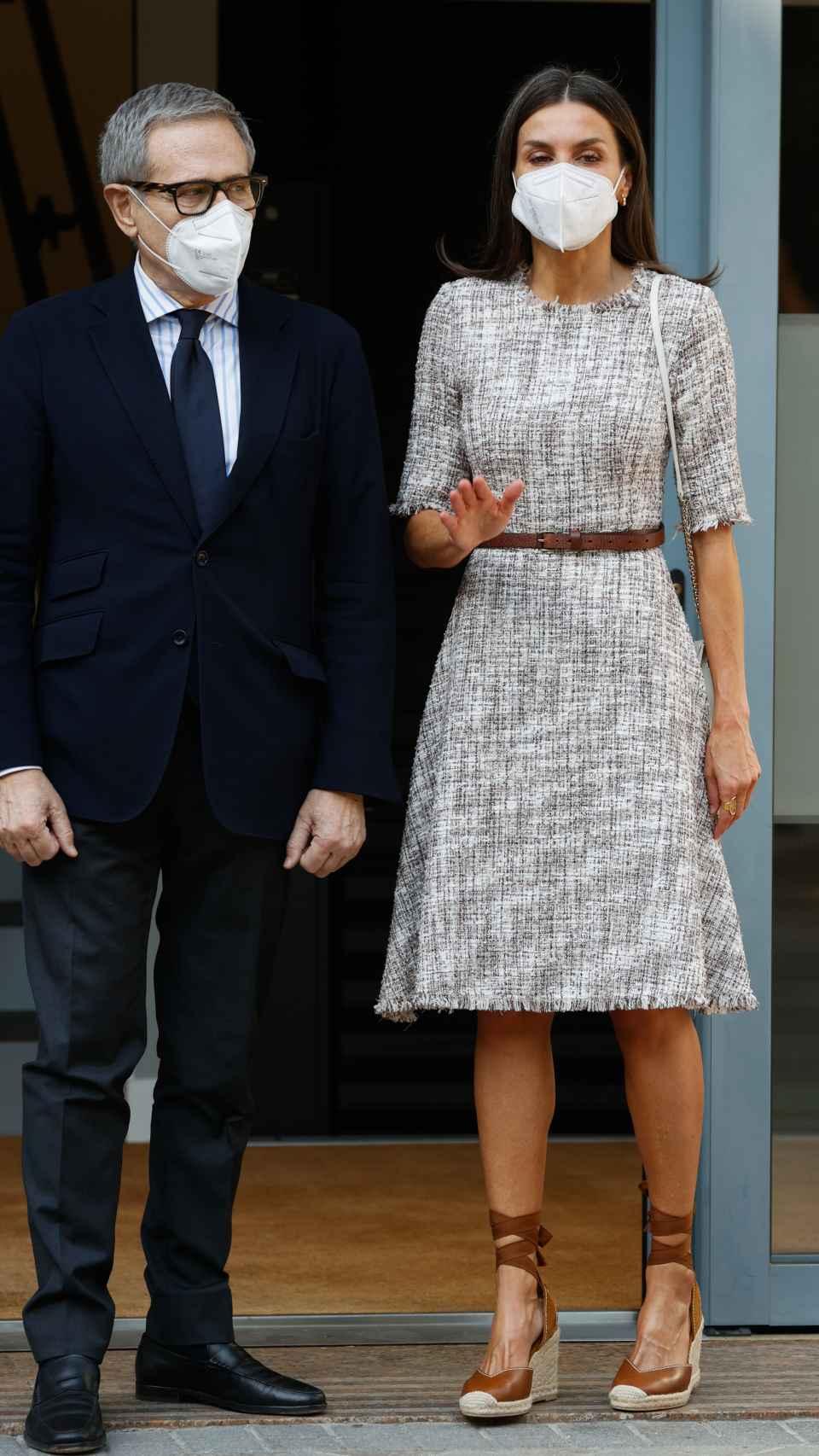 El 'outfit' reciclado de la Reina para el acto de este jueves.