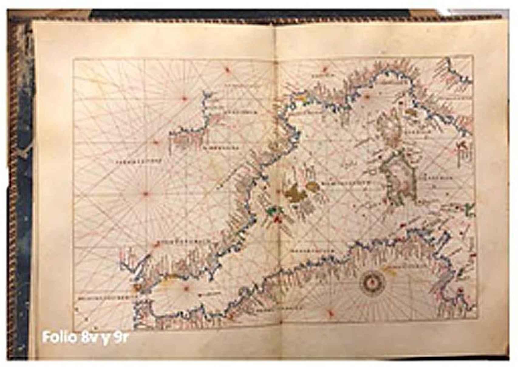 Detalle del atlas recuperado por la policía.