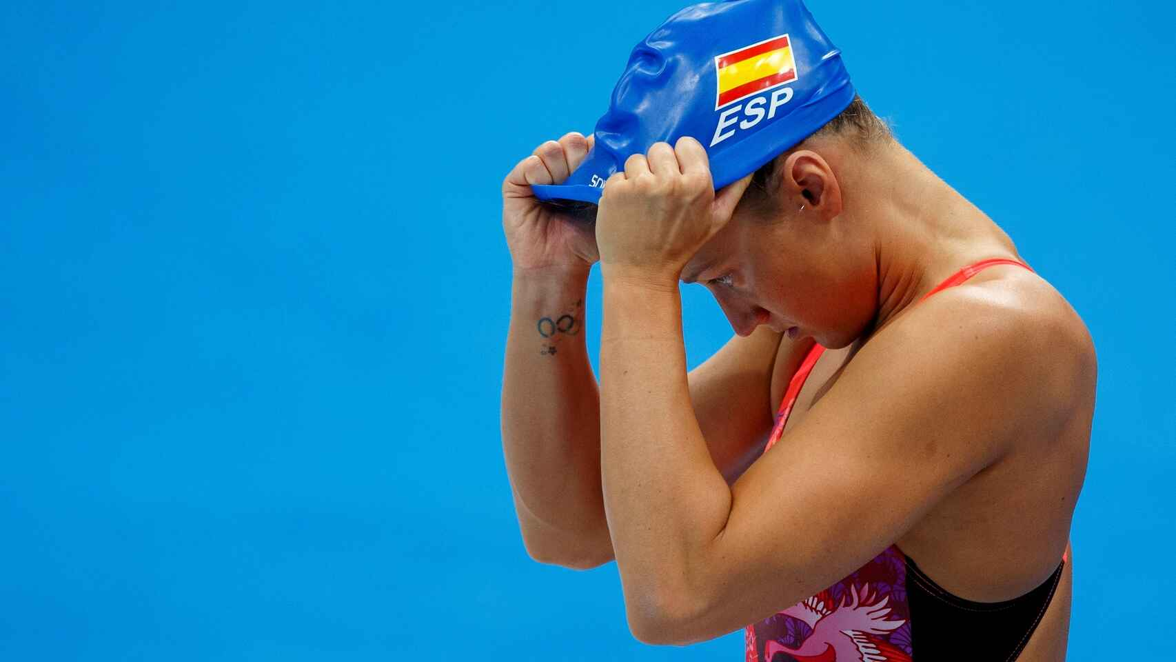 Mireia Belmonte, en los entrenamientos de Tokio 2020